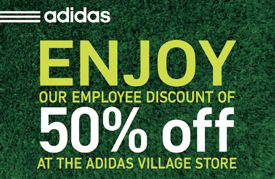50 off at adidas employee store