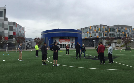 Live practice demonstration out on the adidas field.